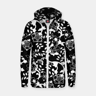 Thumbnail image of FLORAL DESIGN 9-BLACK AND WHITE Zip up hoodie, Live Heroes