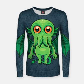 Thumbnail image of Cute Green Cthulhu Monster Women sweater, Live Heroes