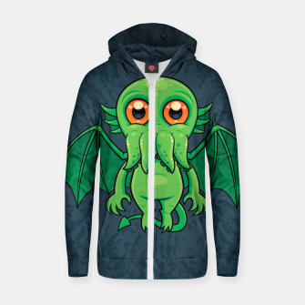 Thumbnail image of Cute Green Cthulhu Monster Zip up hoodie, Live Heroes