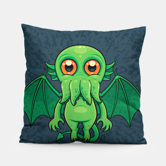 Thumbnail image of Cute Green Cthulhu Monster Pillow, Live Heroes