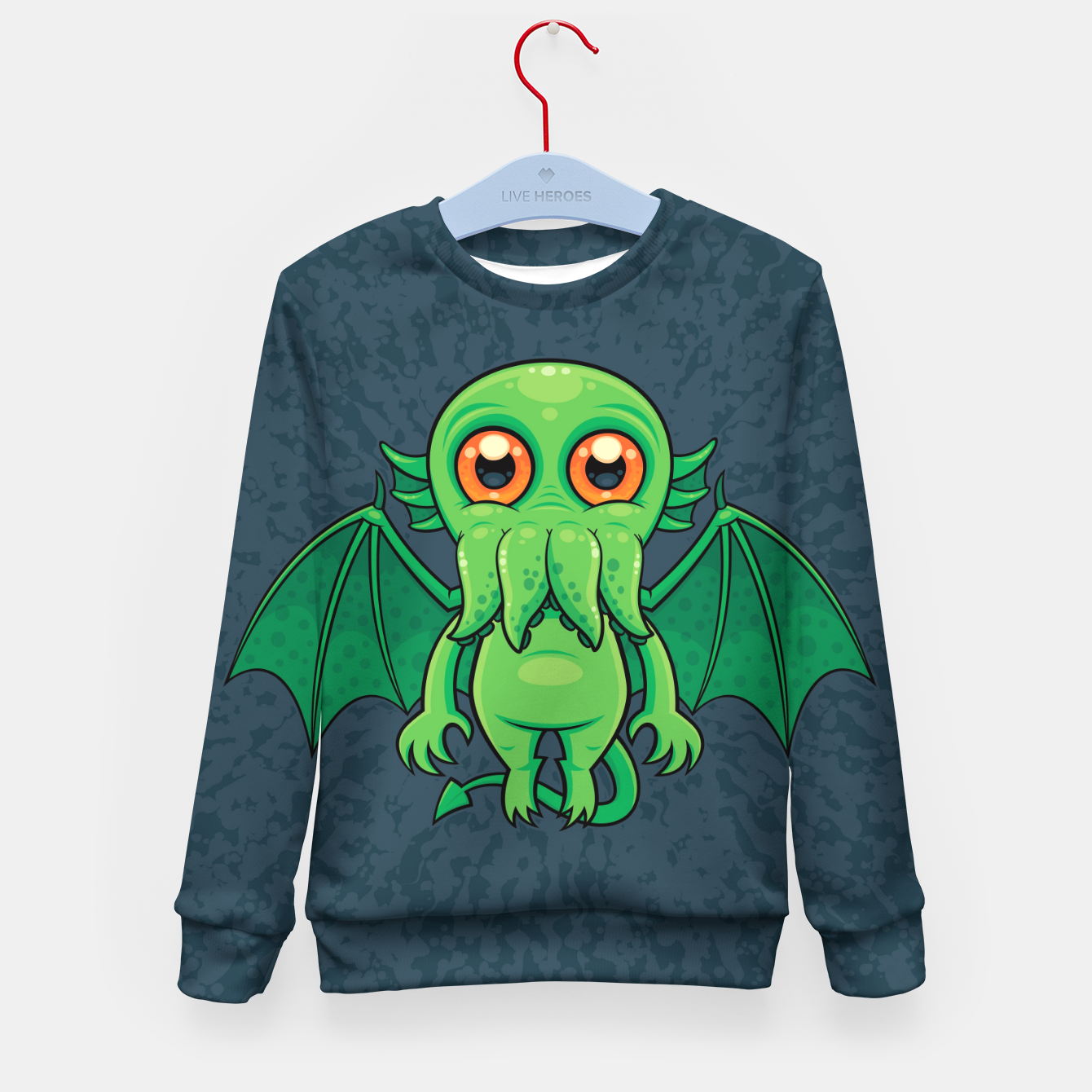 Image of Cute Green Cthulhu Monster Kid's sweater - Live Heroes