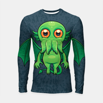 Thumbnail image of Cute Green Cthulhu Monster Longsleeve rashguard , Live Heroes