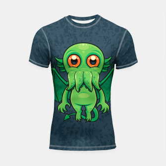 Thumbnail image of Cute Green Cthulhu Monster Shortsleeve rashguard, Live Heroes