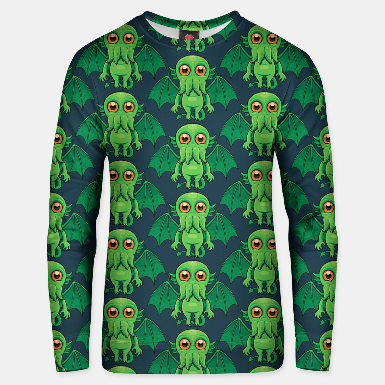 Image of Cute Green Cthulhu Monster Pattern Unisex sweater - Live Heroes