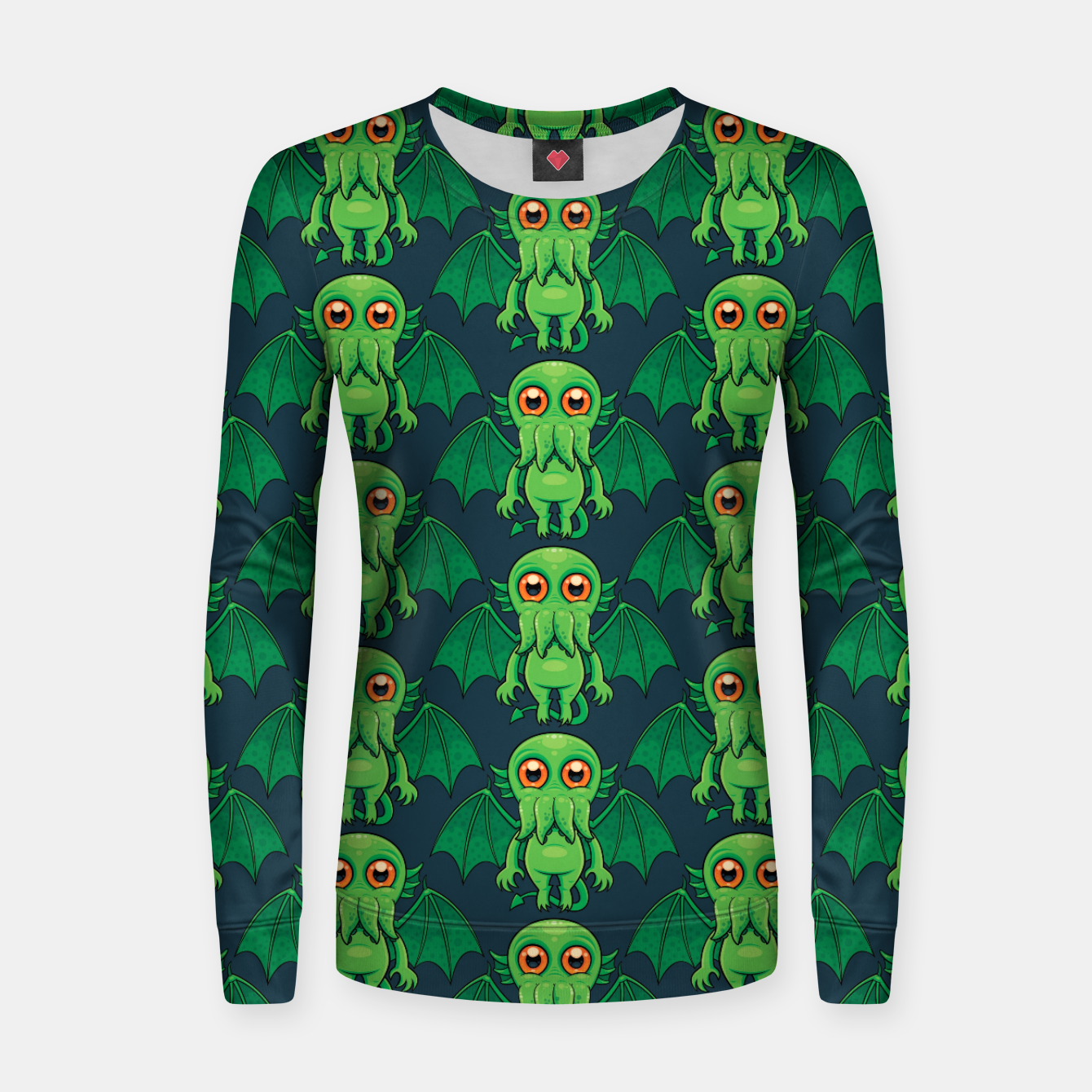 Image of Cute Green Cthulhu Monster Pattern Women sweater - Live Heroes