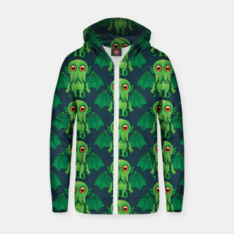 Thumbnail image of Cute Green Cthulhu Monster Pattern Zip up hoodie, Live Heroes
