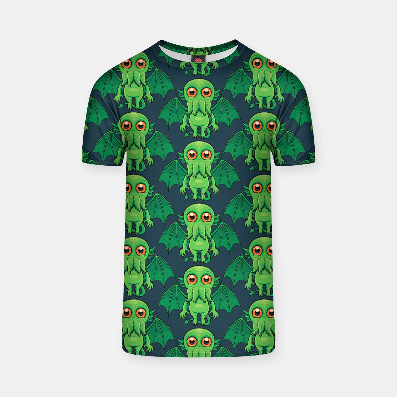 Image of Cute Green Cthulhu Monster Pattern T-shirt - Live Heroes