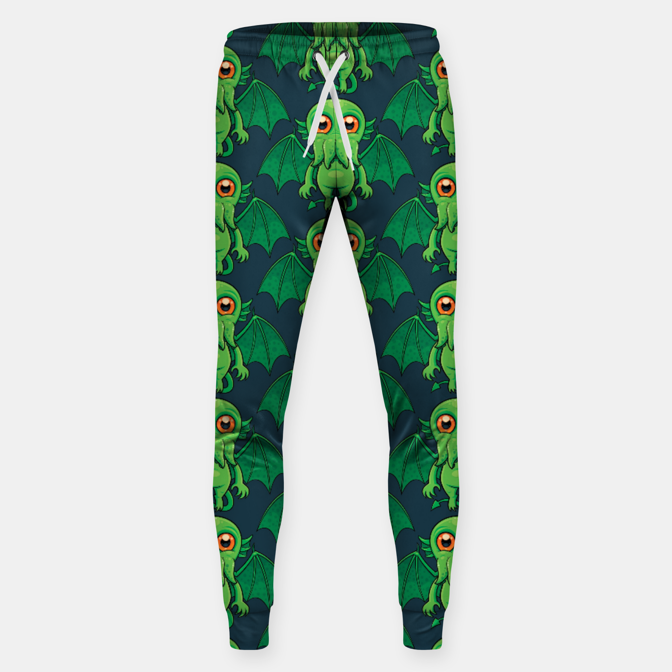 Image of Cute Green Cthulhu Monster Pattern Sweatpants - Live Heroes