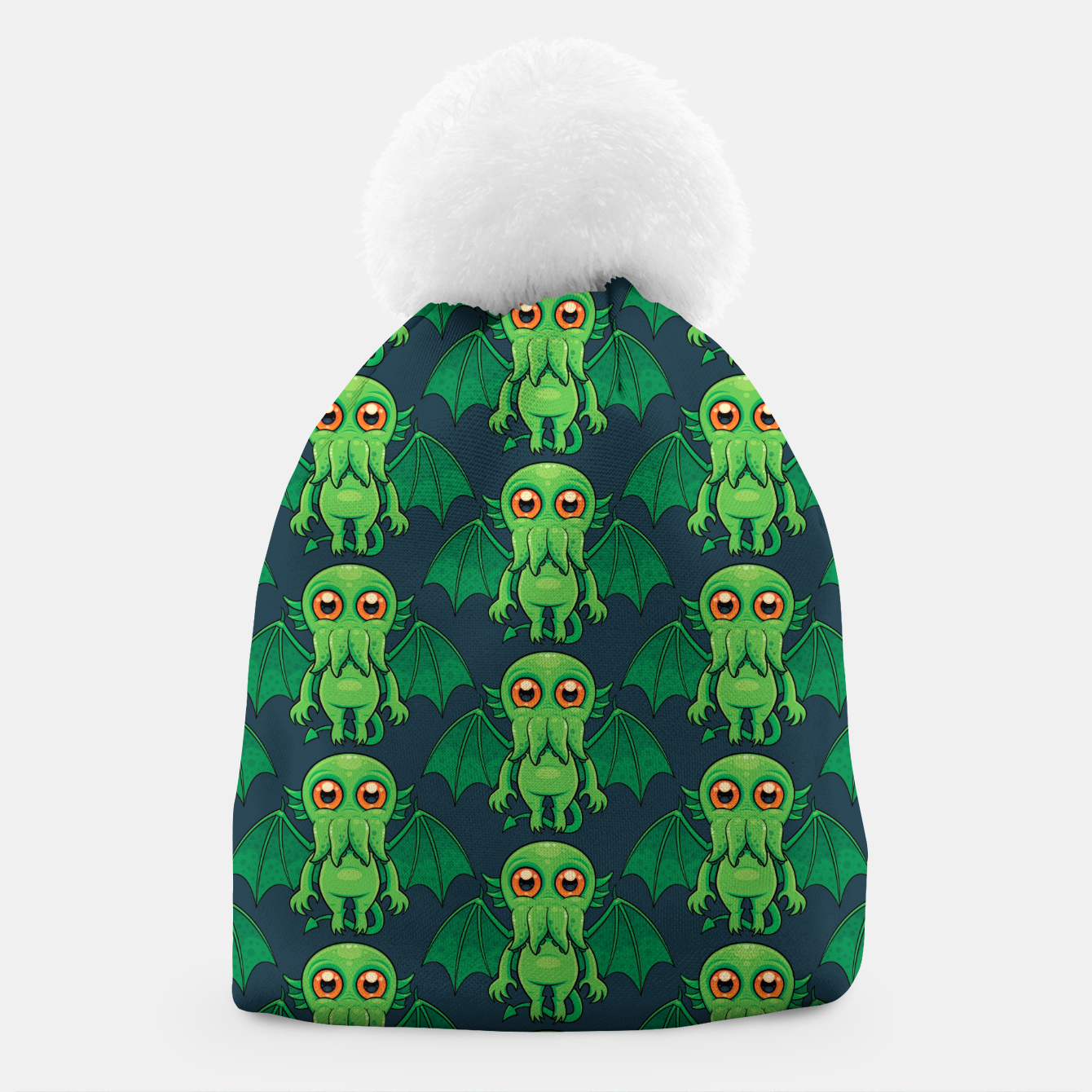 Image of Cute Green Cthulhu Monster Pattern Beanie - Live Heroes