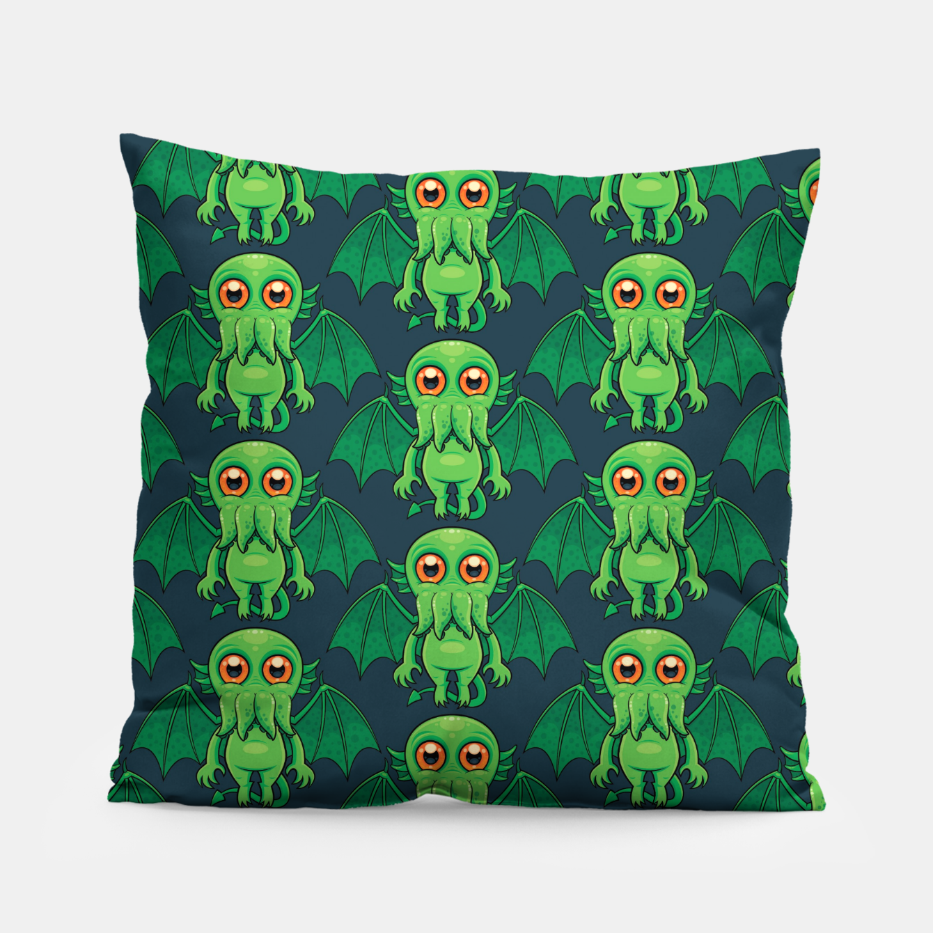 Image of Cute Green Cthulhu Monster Pattern Pillow - Live Heroes