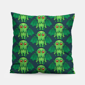 Thumbnail image of Cute Green Cthulhu Monster Pattern Pillow, Live Heroes