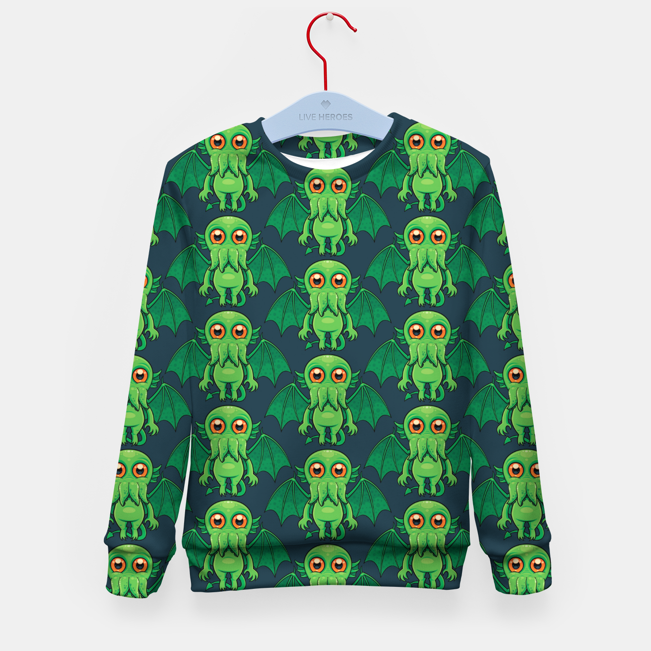 Image of Cute Green Cthulhu Monster Pattern Kid's sweater - Live Heroes