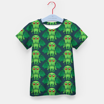 Thumbnail image of Cute Green Cthulhu Monster Pattern Kid's t-shirt, Live Heroes