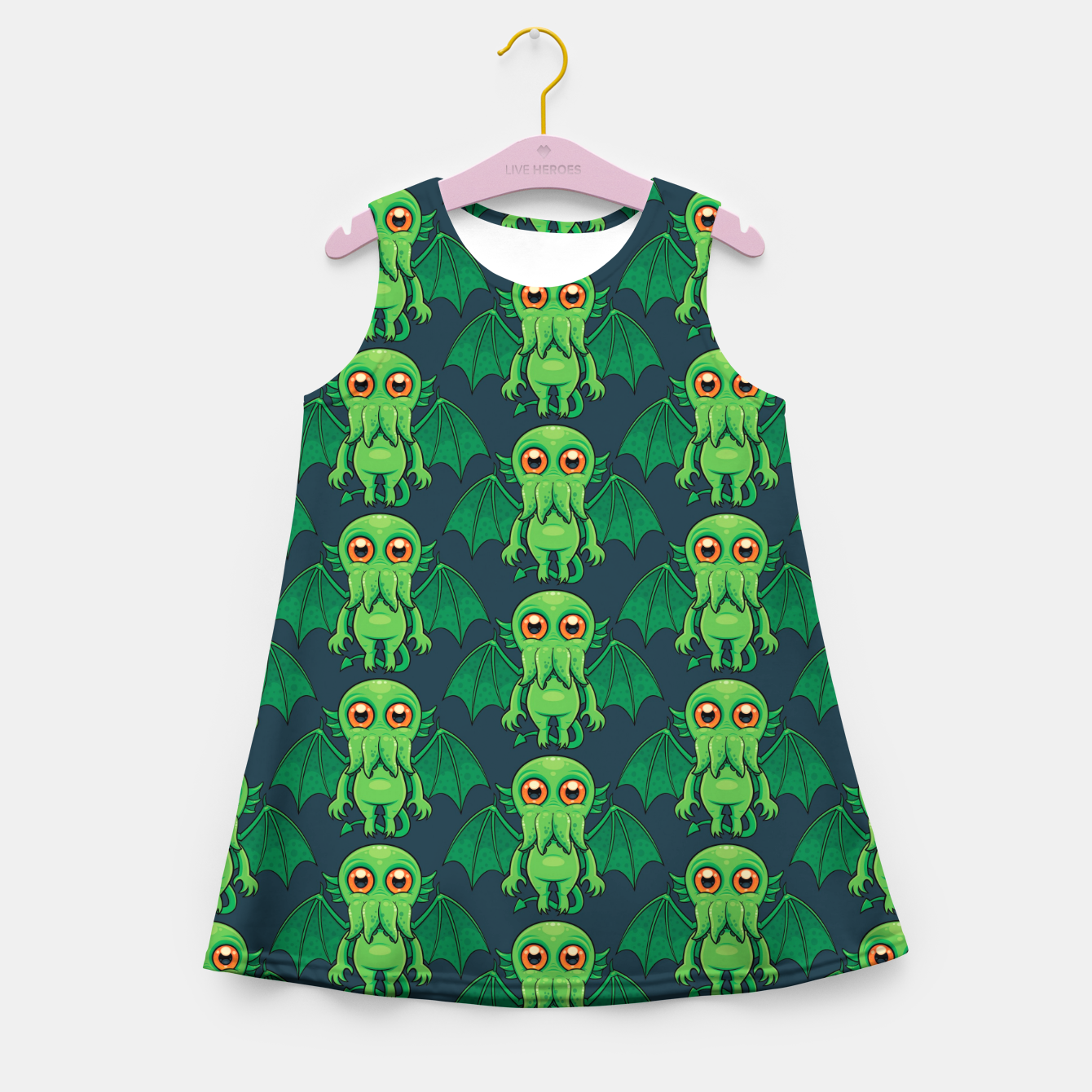 Image of Cute Green Cthulhu Monster Pattern Girl's summer dress - Live Heroes
