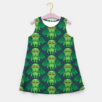 Thumbnail image of Cute Green Cthulhu Monster Pattern Girl's summer dress, Live Heroes