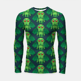 Thumbnail image of Cute Green Cthulhu Monster Pattern Longsleeve rashguard , Live Heroes
