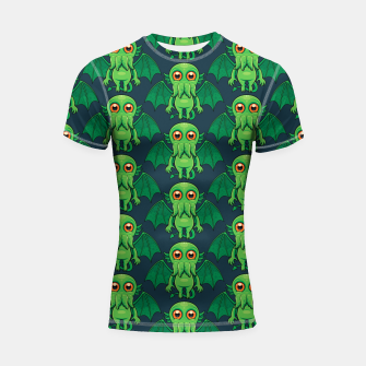 Thumbnail image of Cute Green Cthulhu Monster Pattern Shortsleeve rashguard, Live Heroes