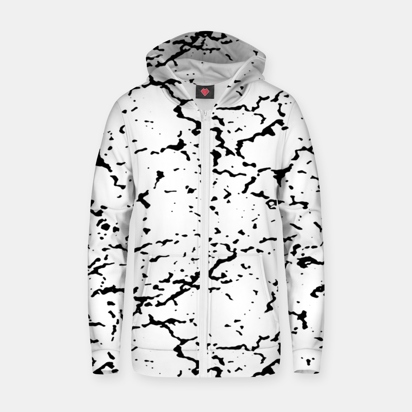 Image of Black and White Grunge Abstract Print Zip up hoodie - Live Heroes