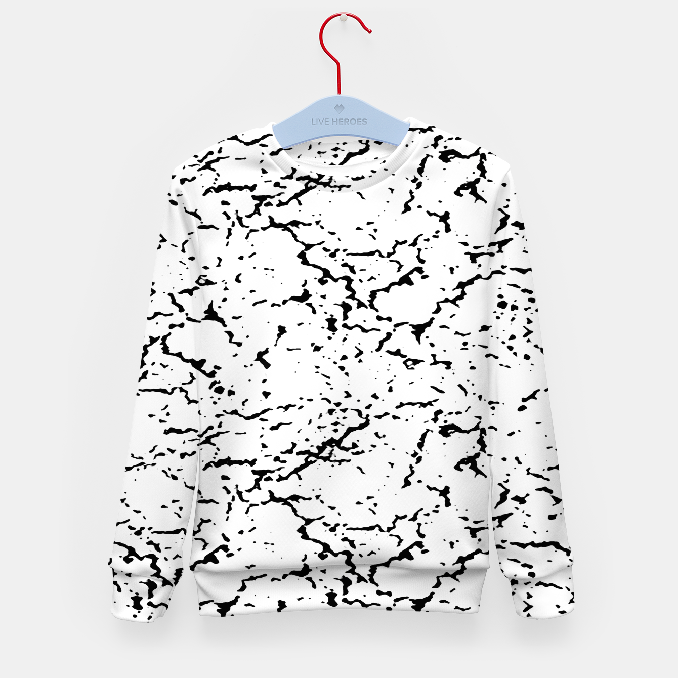 Image of Black and White Grunge Abstract Print Kid's sweater - Live Heroes