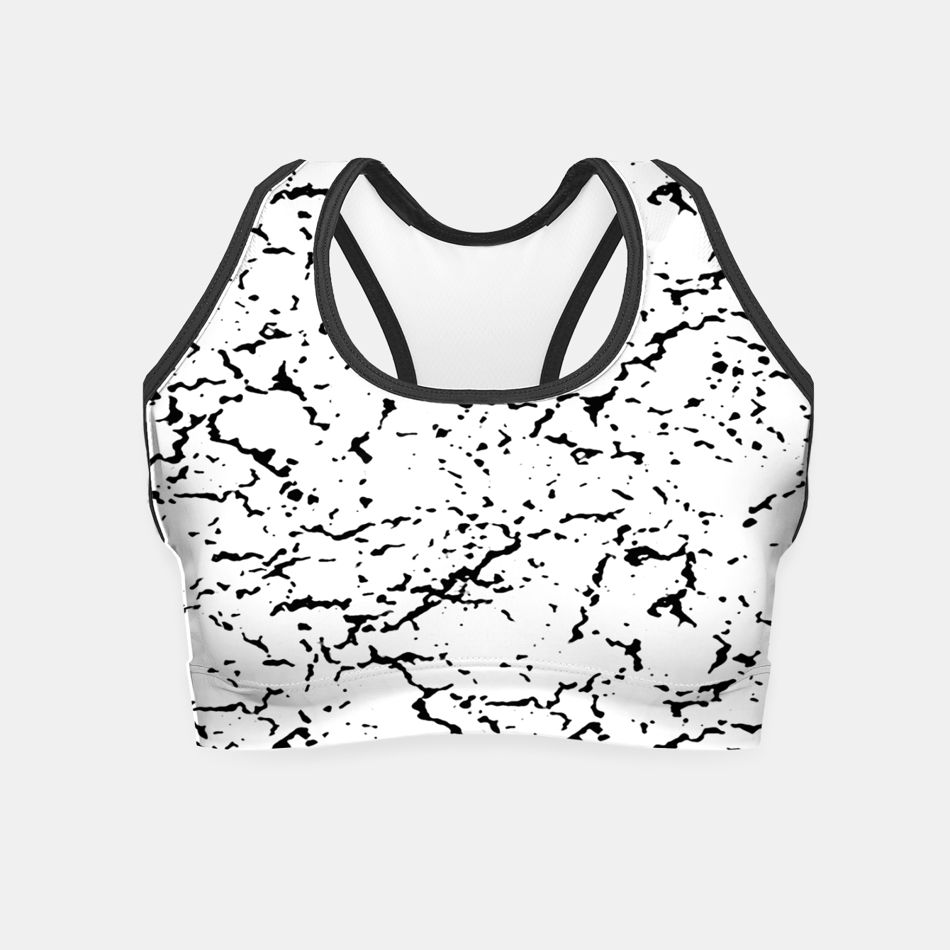 Image of Black and White Grunge Abstract Print Crop Top - Live Heroes