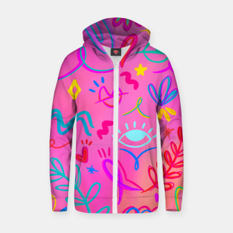 Thumbnail image of Neon doodles Zip up hoodie, Live Heroes