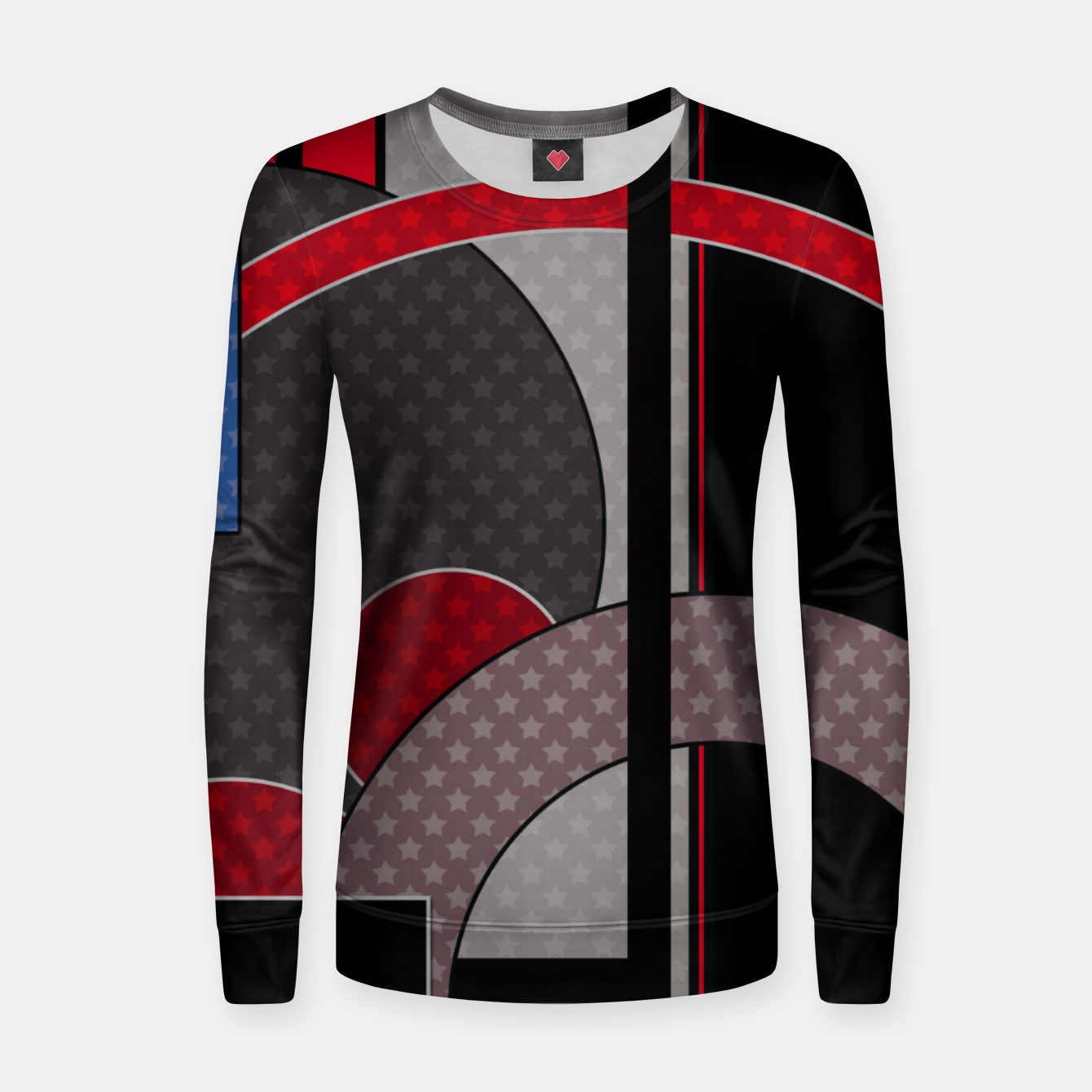 Image of Black and red abstract painting Women sweater - Live Heroes