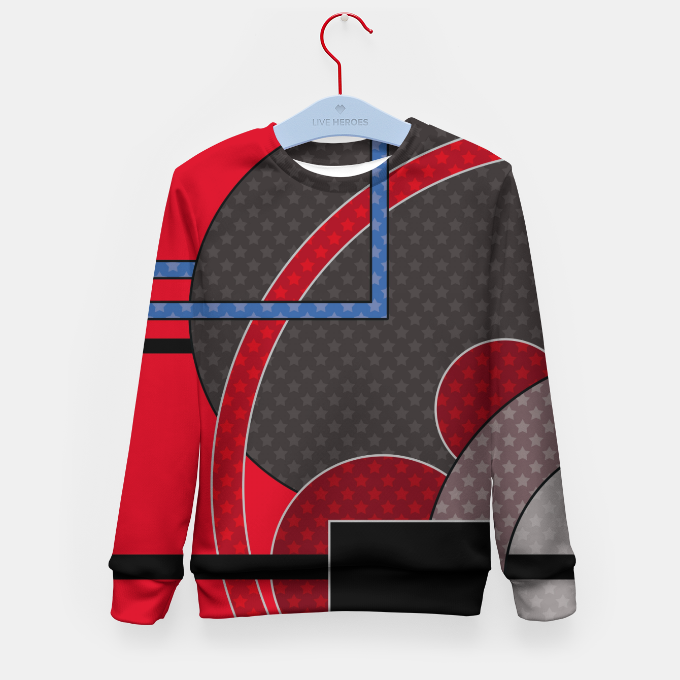 Image of Black and red abstract painting Kid's sweater - Live Heroes