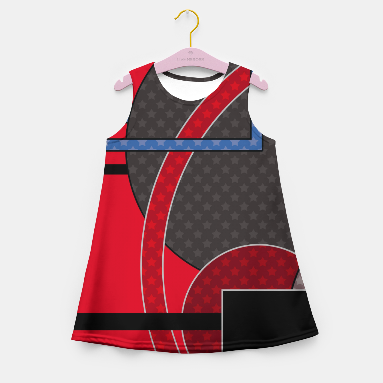 Image of Black and red abstract painting Girl's summer dress - Live Heroes