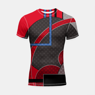 Thumbnail image of Black and red abstract painting Shortsleeve rashguard, Live Heroes