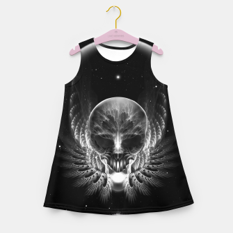 Thumbnail image of Gothic Wing Feitan Skull Fractal Art Girl's summer dress, Live Heroes