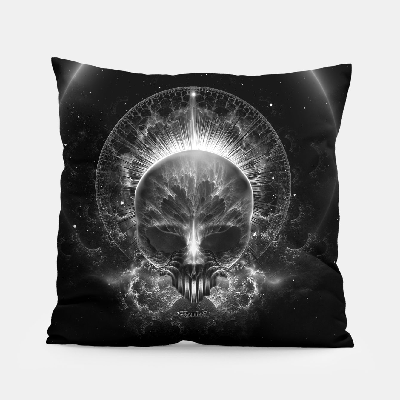 Image of Gothic Skull Blaze Abstract Digital Art Pillow - Live Heroes