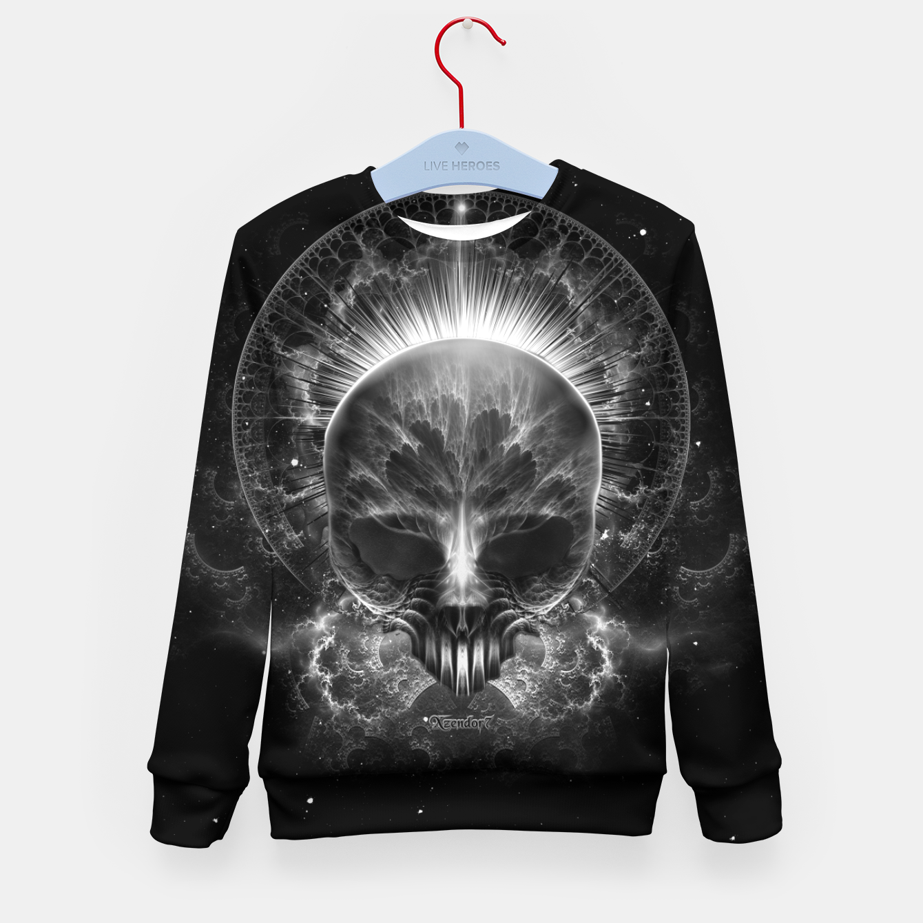 Image of Gothic Skull Blaze Abstract Digital Art Kid's sweater - Live Heroes