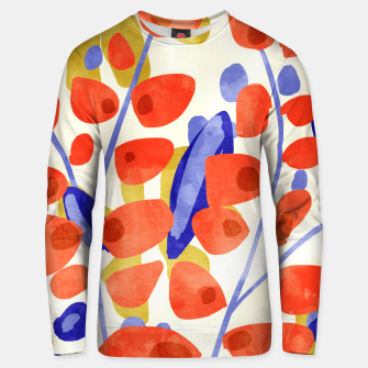 Thumbnail image of All Good Things Are Wild & Free, Bold Eclectic Abstract Botanical Watercolor Rustic Painting  Unisex sweater, Live Heroes