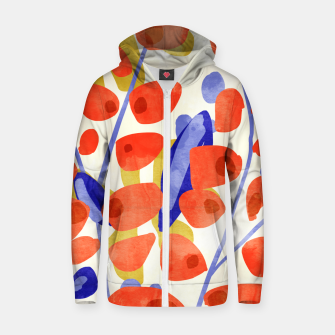 Thumbnail image of All Good Things Are Wild & Free, Bold Eclectic Abstract Botanical Watercolor Rustic Painting  Zip up hoodie, Live Heroes