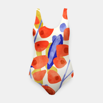 Thumbnail image of All Good Things Are Wild & Free, Bold Eclectic Abstract Botanical Watercolor Rustic Painting  Swimsuit, Live Heroes