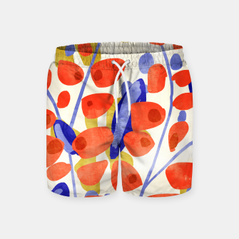 Thumbnail image of All Good Things Are Wild & Free, Bold Eclectic Abstract Botanical Watercolor Rustic Painting  Swim Shorts, Live Heroes