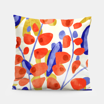 Thumbnail image of All Good Things Are Wild & Free, Bold Eclectic Abstract Botanical Watercolor Rustic Painting  Pillow, Live Heroes