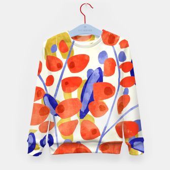 Thumbnail image of All Good Things Are Wild & Free, Bold Eclectic Abstract Botanical Watercolor Rustic Painting  Kid's sweater, Live Heroes