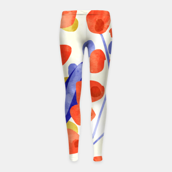 Thumbnail image of All Good Things Are Wild & Free, Bold Eclectic Abstract Botanical Watercolor Rustic Painting  Girl's leggings, Live Heroes