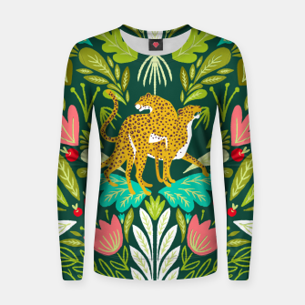 Imagen en miniatura de Cheetah Couple Illustration, Wild Cat Jungle Nature, Mandala Painting, Wildlife Tropical Tiger Women sweater, Live Heroes
