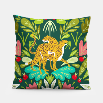 Imagen en miniatura de Cheetah Couple Illustration, Wild Cat Jungle Nature, Mandala Painting, Wildlife Tropical Tiger Pillow, Live Heroes