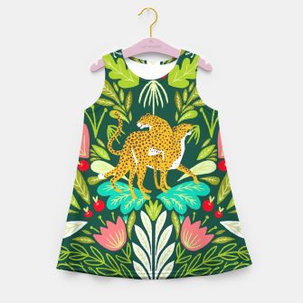 Imagen en miniatura de Cheetah Couple Illustration, Wild Cat Jungle Nature, Mandala Painting, Wildlife Tropical Tiger Girl's summer dress, Live Heroes