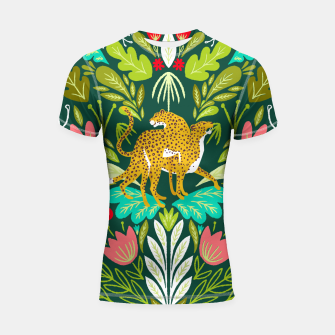 Imagen en miniatura de Cheetah Couple Illustration, Wild Cat Jungle Nature, Mandala Painting, Wildlife Tropical Tiger Shortsleeve rashguard, Live Heroes