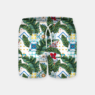 Thumbnail image of Plant a Garden In Which Strange Plants Grow & Mysteries Bloom Swim Shorts, Live Heroes