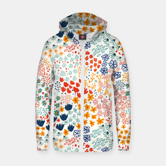Thumbnail image of Meadow Flowers Minimal Illustration, Botanical Nature Floral Colorful Summer Painting Zip up hoodie, Live Heroes