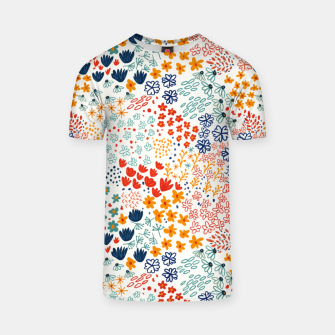Thumbnail image of Meadow Flowers Minimal Illustration, Botanical Nature Floral Colorful Summer Painting T-shirt, Live Heroes
