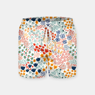 Thumbnail image of Meadow Flowers Minimal Illustration, Botanical Nature Floral Colorful Summer Painting Swim Shorts, Live Heroes