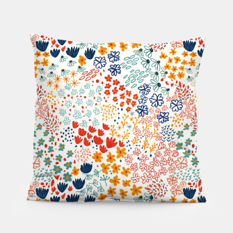 Thumbnail image of Meadow Flowers Minimal Illustration, Botanical Nature Floral Colorful Summer Painting Pillow, Live Heroes