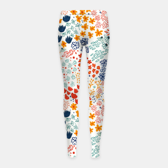 Thumbnail image of Meadow Flowers Minimal Illustration, Botanical Nature Floral Colorful Summer Painting Girl's leggings, Live Heroes