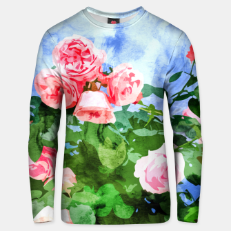 Thumbnail image of Sweet Rose Garden, Nature Botanical Watercolor Painting, Summer Floral Plants Meadow Unisex sweater, Live Heroes